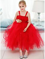 플라워 걸 드레스 - A라인 민소매 발목 길이 명주그물 / 폴리에스터