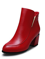 Women's Shoes Leather Chunky Heel Fashion Boots / Bootie / Pointed Toe Boots Black / Red