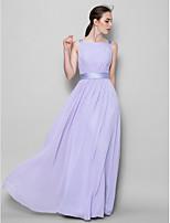 Floor-length Chiffon Bridesmaid Dress - Lavender A-line Straps