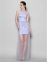Floor-length Tulle Bridesmaid Dress - Lavender Sheath/Column Jewel
