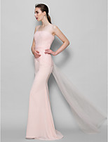 Floor-length Chiffon / Tulle Bridesmaid Dress - Pearl Pink Sheath/Column Scoop