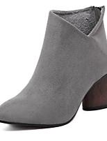 Damenschuhe - Stiefel - Lässig - Kunstleder - Blockabsatz - Armeestiefel - Schwarz / Grau