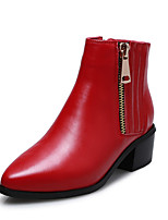 Women's Shoes Leather Chunky Heel Fashion Boots Boots Outdoor / Office & Career / Casual Black / Red