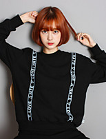 Women's Character Black Hoodies , Casual Round Neck Long Sleeve