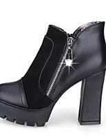 Women's Shoes Chunky Heel Heels / Platform / Bootie / Round Toe Heels / Boots Casual Black / Red