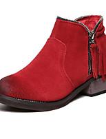 Women's Shoes Suede Chunky Heel Comfort Boots Outdoor Black / Red / Khaki