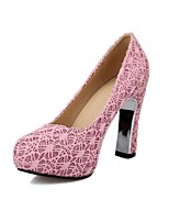 Women's Shoes Tulle Spool Heel Comfort / Pointed Toe Heels Outdoor / Office & Career / Dress Pink / Silver / Gold