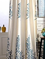 (Two Panel)Country Embroidery Trees  Cotton Energy Saving Curtain
