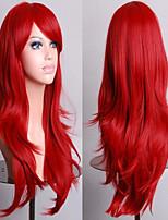 70 cm lang krullend rood haar luchtvolume hoge temperatuur zijde pruik
