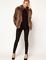 Women's Fashion Faux Fur Ruched Long Sleeve Coat