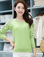 Women's Floral / Solid Green / Beige Pullover , Casual / Cute Long Sleeve