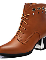 Women's Shoes Synthetic Chunky Heel Motorcycle Boots / Combat Boots Boots Party & Evening / Dress / Casual Black / Brown