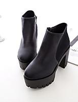 Zapatos de mujer - Tacón Robusto - Botas a la Moda - Botas - Casual - Semicuero - Negro
