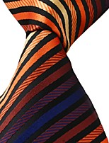 Yellow Orange Black Blue Stripes Men Jacquard Leisure Necktie