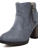 Women's Shoes Suede Chunky Heel Round Toe Boots Casual Black / Blue