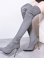 Women's Shoes Velvet Stiletto Heel Fashion Boots Boots Outdoor / Casual Black / Brown / Gray / Burgundy