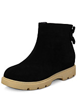 Women's Shoes Fleece Wedge Heel Fashion Boots / Round Toe Boots Dress / Casual Black / Gray