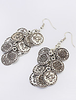 Women's Fashion Wild Retro Round Coins Alloy Drop Earrings
