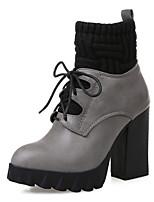 Women's Shoes Stiletto Heel Comfort Boots Outdoor Black / Gray