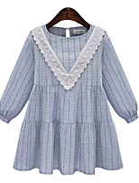 Women's Striped / Solid / Patchwork Blue / Gray Dress , Vintage / Casual Round Neck Long Sleeve
