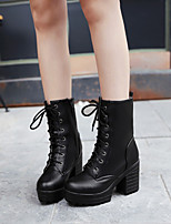 Women's Shoes Leatherette Chunky Heel Fashion Boots / Dress / Casual Black / Brown / Tan