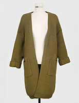 Women's Solid Green Cardigan , Sexy Long Sleeve
