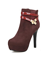Women's Shoes Fleece Stiletto Heel Fashion Boots Boots Party & Evening / Dress Black / Red
