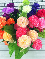 A Bunch Of 12 Fork Polyester Hydrangeas Artificial Flowers