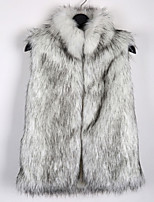 Women's Fashion Plus Size Faux Fur Top , Vest , Lined