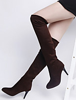 Women's Shoes Slim Leg  Europe Style Stiletto Heel Comfort Boots Casual Black / Brown