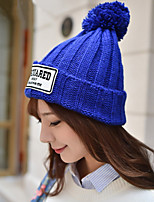 Women Patch Crimping Wool Knitted Hat