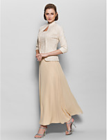 A-line Mother of the Bride Dress - Champagne Ankle-length 3/4 Length Sleeve Chiffon / Lace