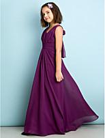 Floor-length Chiffon Junior Bridesmaid Dress - Grape A-line V-neck