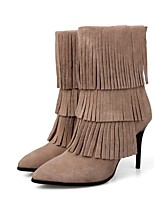 Women's Shoes Leather Stiletto Heel Fashion Boots / Pointed Toe Boots Dress / Casual Black / Khaki