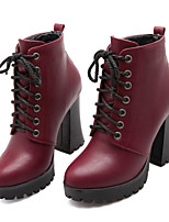 Women's Shoes Leatherette Chunky Heel Fashion Boots / Combat Boots Boots Casual Red / Metallic