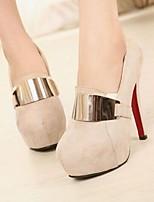 Retro Suede Metal Accessories Women's Wedding Thin Heel Platform Pumps/Heels Shoes