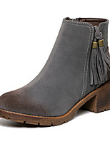 Women's Shoes Suede Chunky Heel Comfort Boots Outdoor Black / Brown / Gray