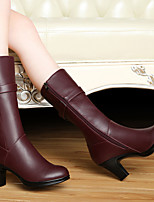 Women's Shoes Leather Chunky Heel Heels / Round Toe Boots Wedding / Party & Evening / Dress Black / Burgundy