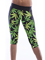 Women's Black High Waist Green Leaf Print Yoga Pants