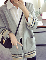 Women's Striped / Solid Black / Gray Cardigan , Vintage / Casual / Cute / Party Long Sleeve