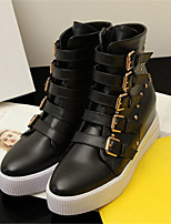 Women's Shoes Platform Round Toe Boots Casual Black / White