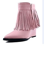 Women's Shoes Leather Wedge Heel Fashion Boots / Pointed Toe Boots Dress / Casual Black / Pink