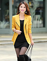Women's Solid Red / Black / Yellow Blazer , Casual Shirt Collar Long Sleeve
