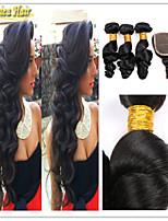 4 PC / porción pelo virginal peruano con cierre cierre cordón de la onda floja con paquetes de extensión de cabello humano virginal