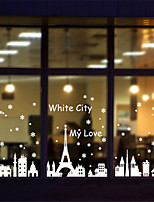 Wall Stickers Wall Decals, Merry Christmas White Snow City PVC Wall Stickers
