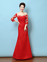 Formal Evening Dress - Ruby Trumpet/Mermaid Jewel Floor-length Lace