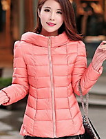 Women's Solid Pink / Red / White / Black / Green / Gray Parka Coat , Casual Hooded Long Sleeve