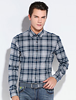 Men's Long Sleeve Shirt , Cotton Casual / Work / Formal Plaids & Checks