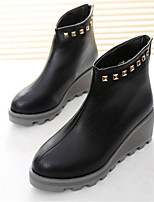 Women's Shoes Wedge Heel Round Toe Boots Casual Black / Gray