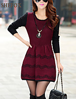 Women's Patchwork / Color Block Red / Gray Dress , Casual / Party / Work Long Sleeve SF10A06